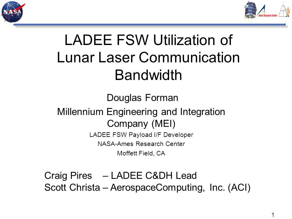 1 LADEE FSW Utilization of Lunar Laser Communication Bandwidth Douglas Forman Millennium Engineering and Integration Company (MEI) LADEE FSW Payload I