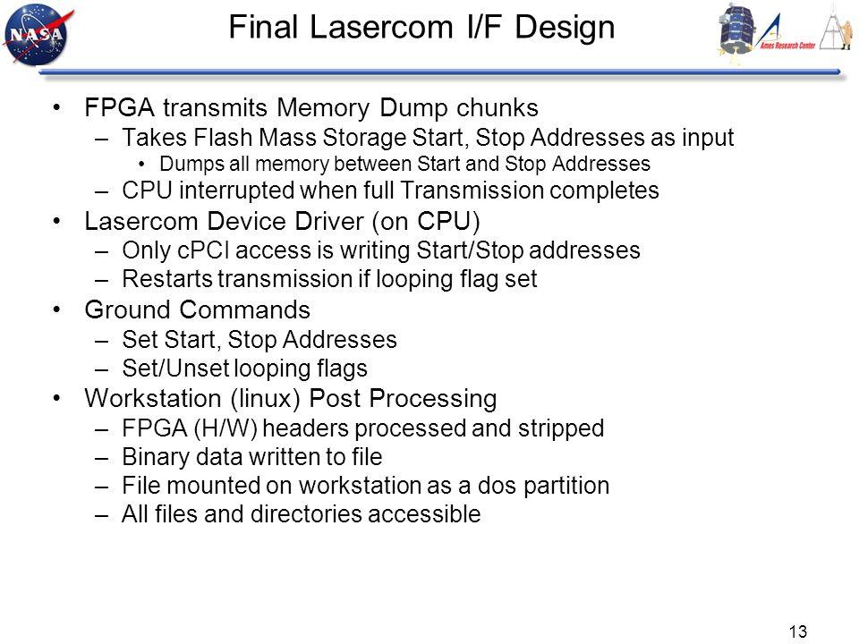 13 Final Lasercom I/F Design FPGA transmits Memory Dump chunks –Takes Flash Mass Storage Start, Stop Addresses as input Dumps all memory between Start