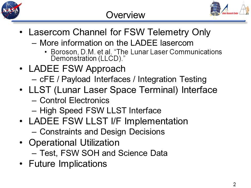 2 Overview Lasercom Channel for FSW Telemetry Only –More information on the LADEE lasercom Boroson, D.M. et al. The Lunar Laser Communications Demonst