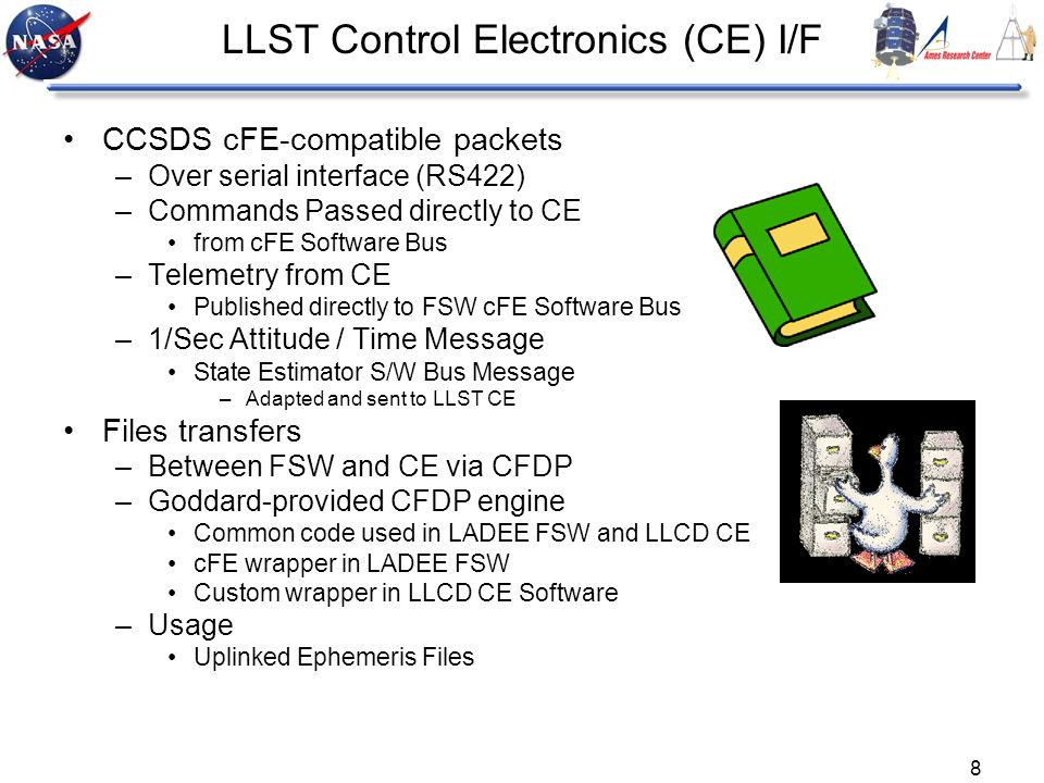 8 LLST Control Electronics (CE) I/F CCSDS cFE-compatible packets –Over serial interface (RS422) –Commands Passed directly to CE from cFE Software Bus