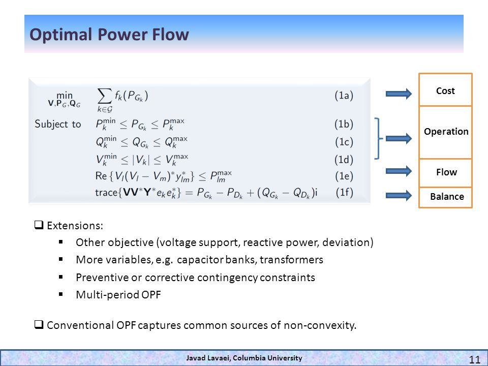 Optimal Power Flow Cost Operation Flow Balance Extensions: Other objective (voltage support, reactive power, deviation) More variables, e.g. capacitor