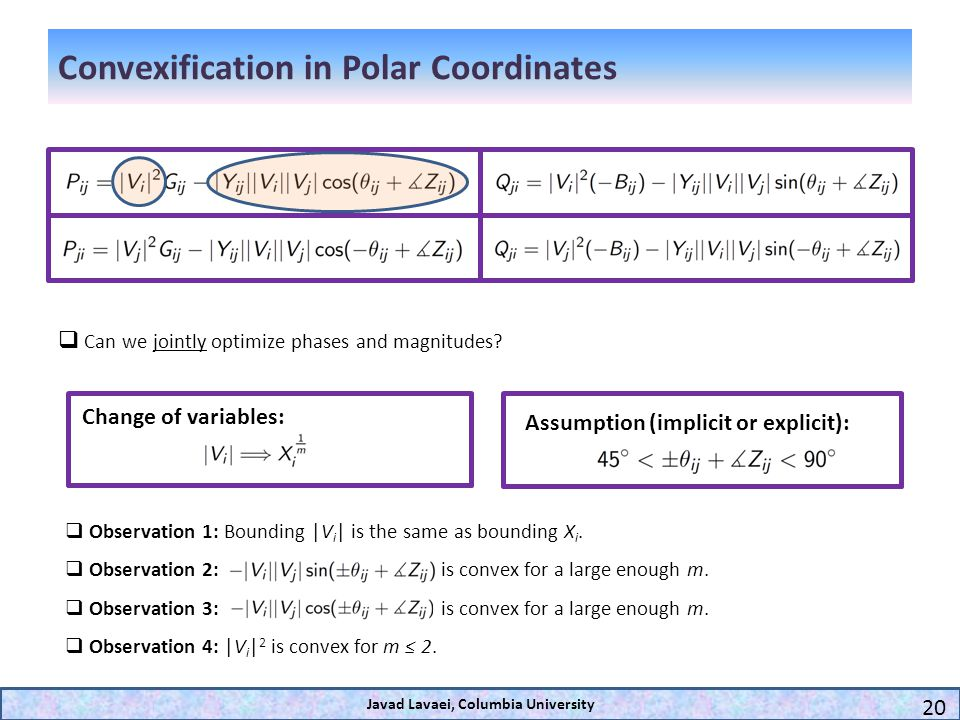 Convexification in Polar Coordinates Javad Lavaei, Columbia University 20 Can we jointly optimize phases and magnitudes? Observation 1: Bounding |V i
