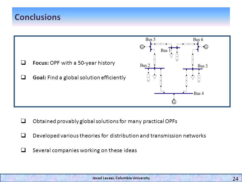 Conclusions Focus: OPF with a 50-year history Goal: Find a global solution efficiently Obtained provably global solutions for many practical OPFs Deve