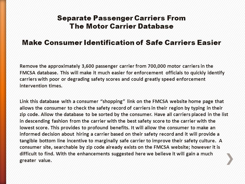 Remove the approximately 3,600 passenger carrier from 700,000 motor carriers in the FMCSA database.