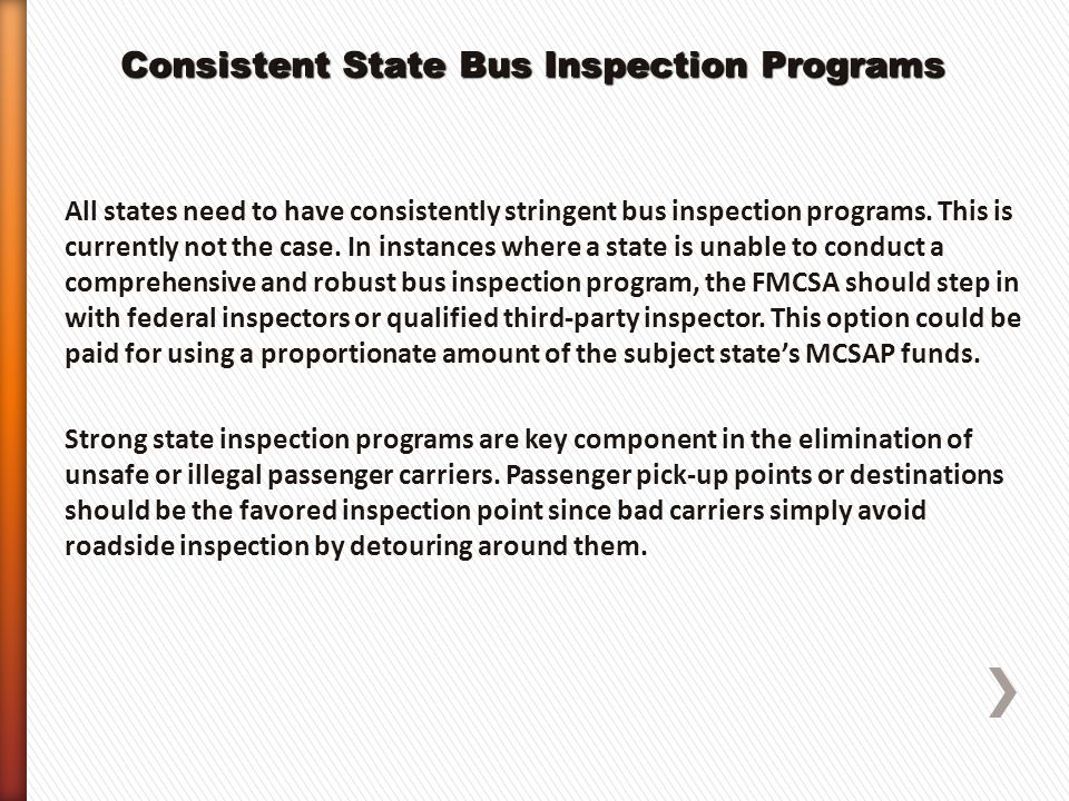 Consistent State Bus Inspection Programs