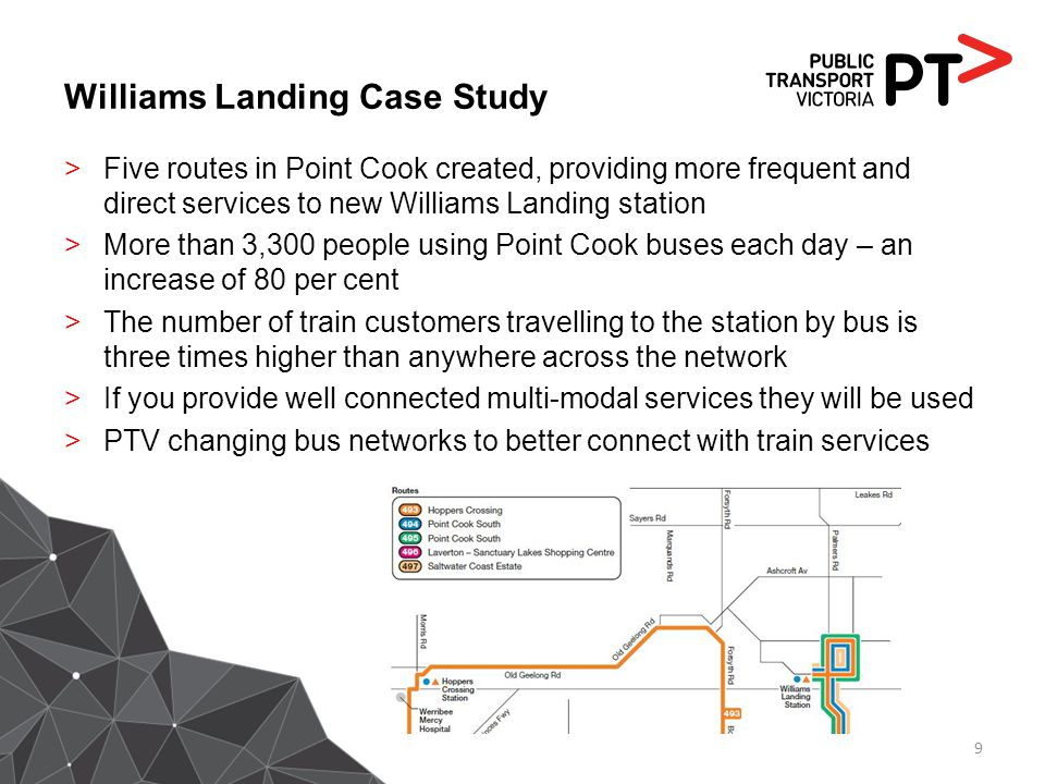 Williams Landing Case Study >Five routes in Point Cook created, providing more frequent and direct services to new Williams Landing station >More than
