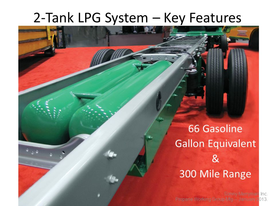 66 Gasoline Gallon Equivalent & 300 Mile Range 2-Tank LPG System – Key Features Sonny Merryman Inc.