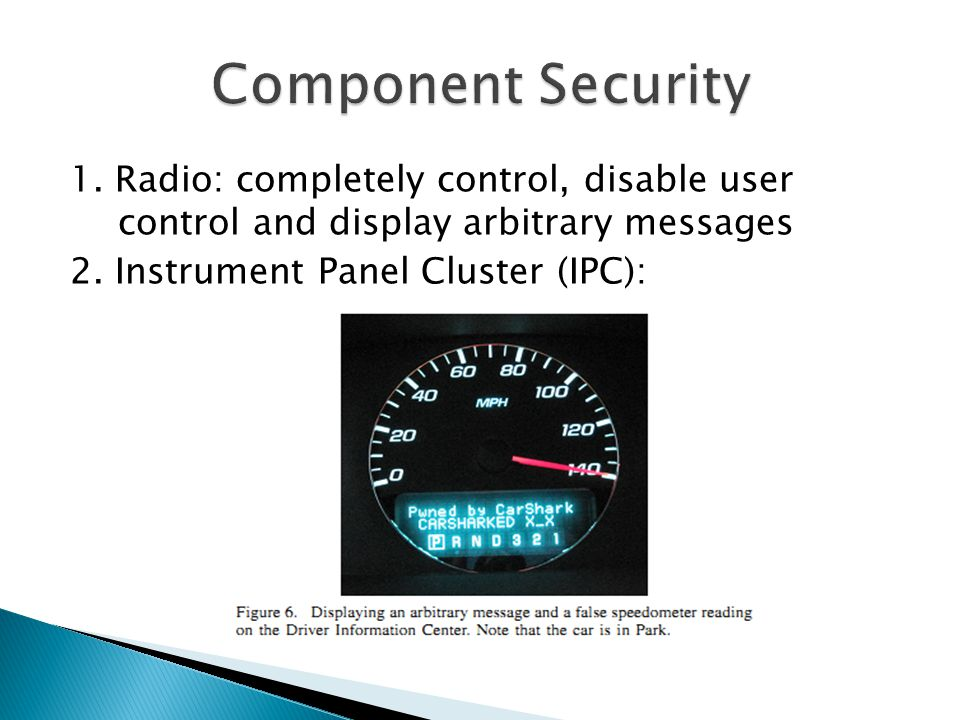 1.Radio: completely control, disable user control and display arbitrary messages 2.