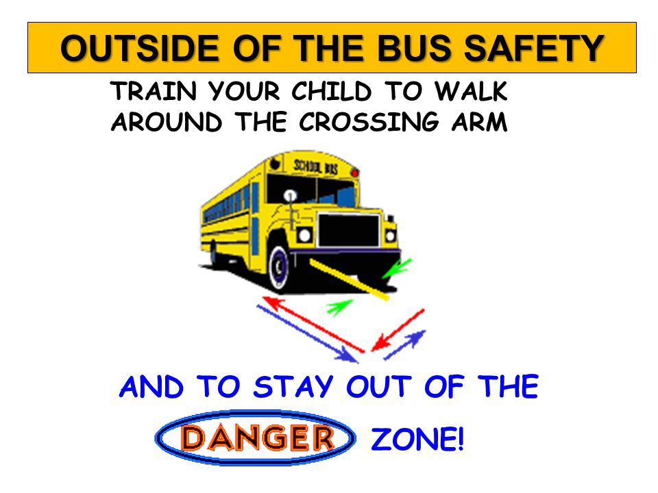 CHILDREN SHOULD NEVER GO BACK FOR ANYTHING THEY HAVE DROPPED OR LEFT ON THE BUS.