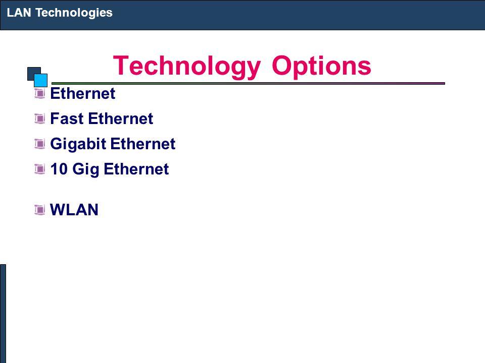 Technology Options Ethernet Fast Ethernet Gigabit Ethernet 10 Gig Ethernet WLAN LAN Technologies
