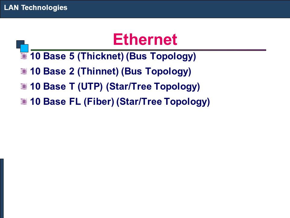 Ethernet 10 Base 5 (Thicknet) (Bus Topology) 10 Base 2 (Thinnet) (Bus Topology) 10 Base T (UTP) (Star/Tree Topology) 10 Base FL (Fiber) (Star/Tree Topology) LAN Technologies