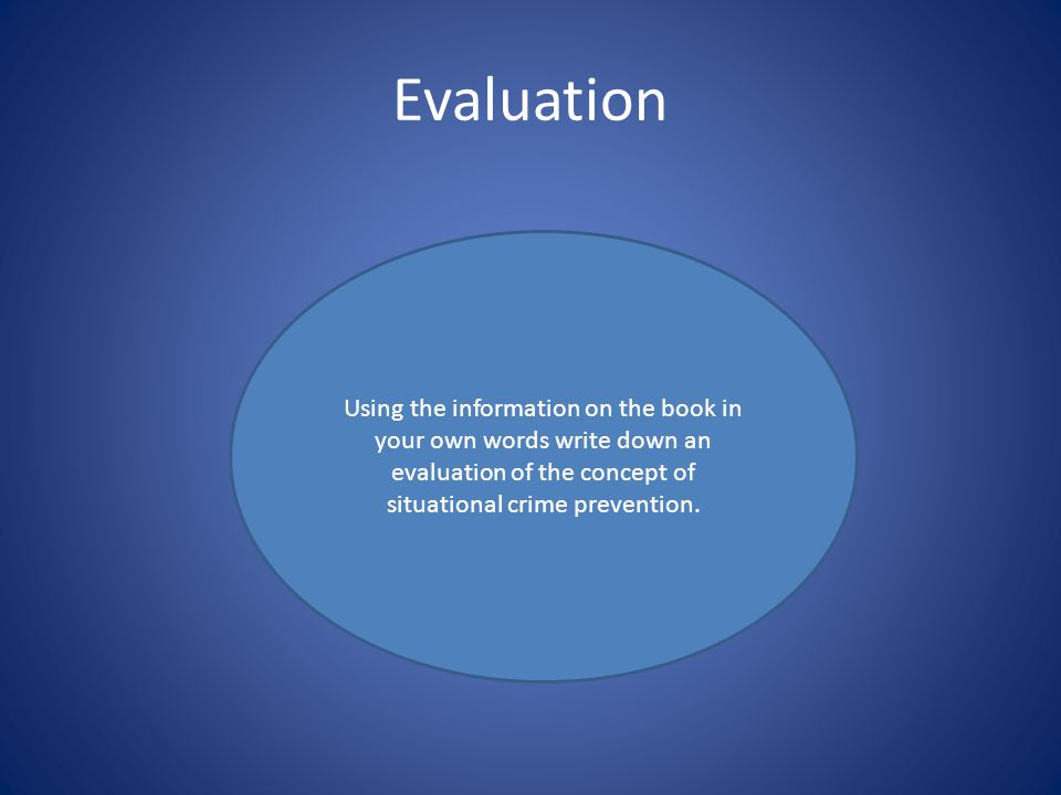 Evaluation Using the information on the book in your own words write down an evaluation of the concept of situational crime prevention.