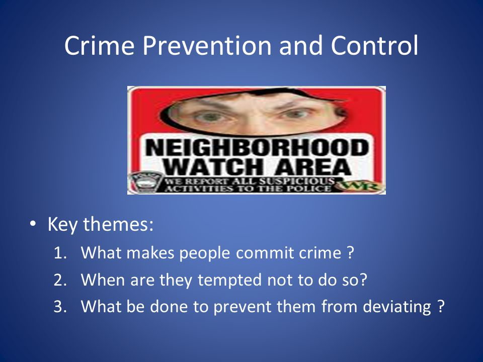 Crime Prevention and Control Key themes: 1.What makes people commit crime ? 2.When are they tempted not to do so? 3.What be done to prevent them from