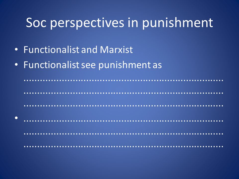 Soc perspectives in punishment Functionalist and Marxist Functionalist see punishment as..............................................................