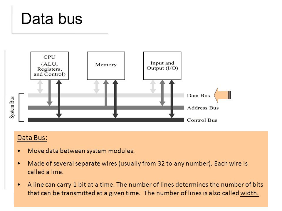 ISA Address bus Address Bus: Specify the source and destination of the data on the data bus.