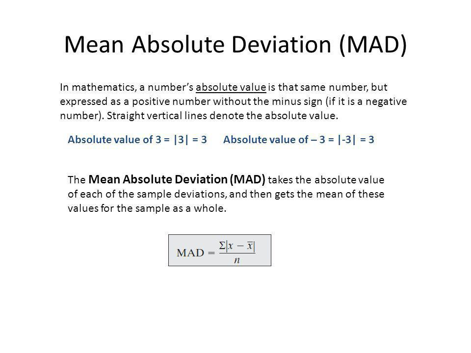 Back to deviations to measure spread Deviations measure spread, but… Always sum total to zero So we cannot use the sum total as a measure of spread If all deviations could be made positive, then deviations could be used.