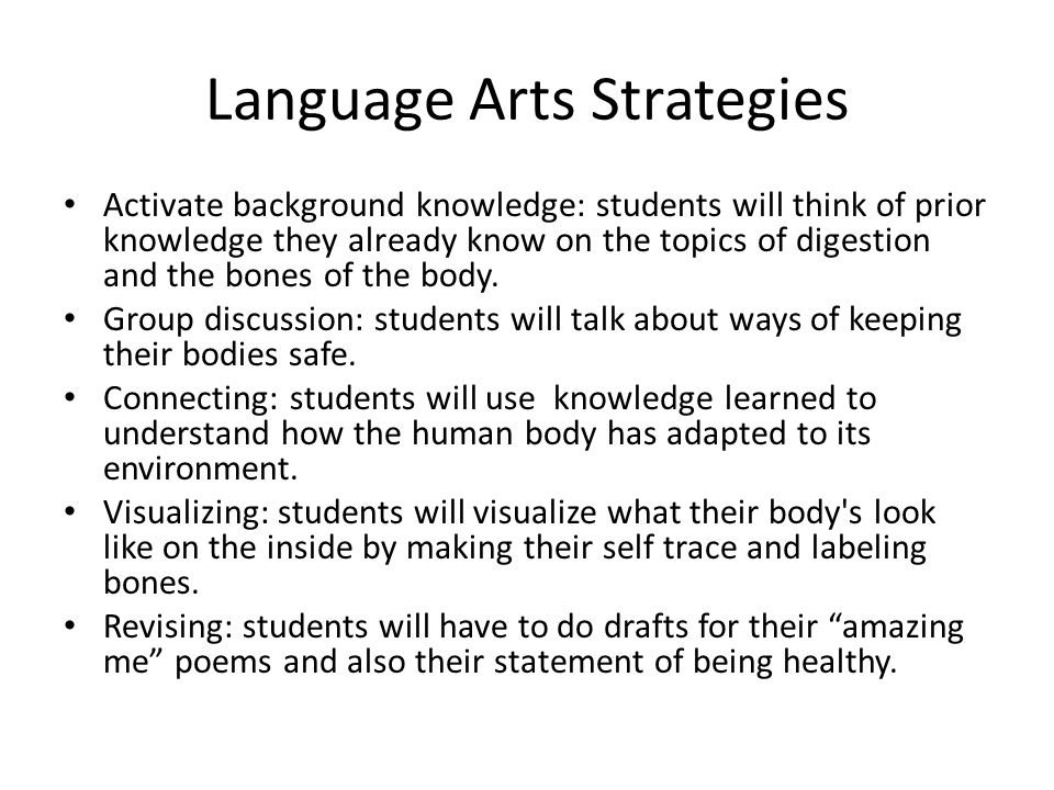 Language Arts Strategies Activate background knowledge: students will think of prior knowledge they already know on the topics of digestion and the bones of the body.