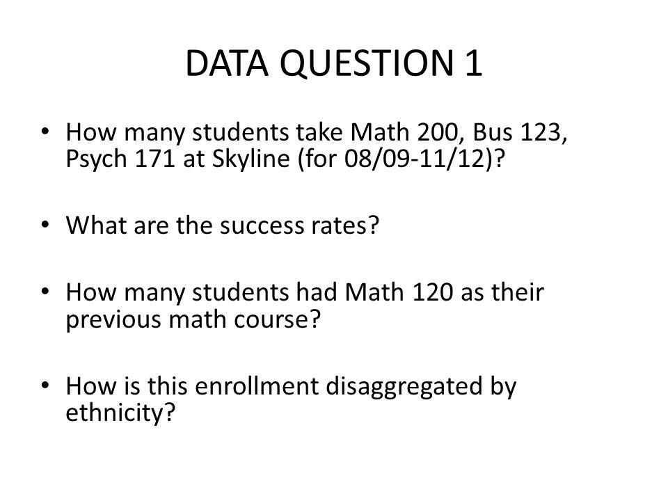 DATA QUESTION 1 How many students take Math 200, Bus 123, Psych 171 at Skyline (for 08/09-11/12)? What are the success rates? How many students had Ma