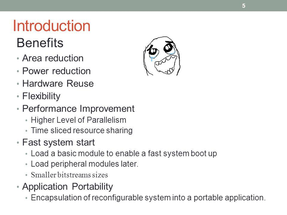 Introduction Area reduction Power reduction Hardware Reuse Flexibility Performance Improvement Higher Level of Parallelism Time sliced resource sharin