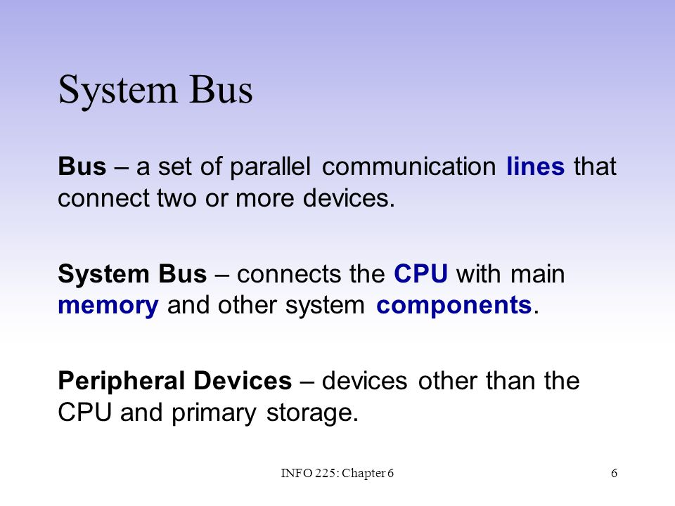 17 Logical and Physical Access The CPU and bus interact with each peripheral device as if it were a storage device containing one or more bytes stored in sequentially numbered addresses.