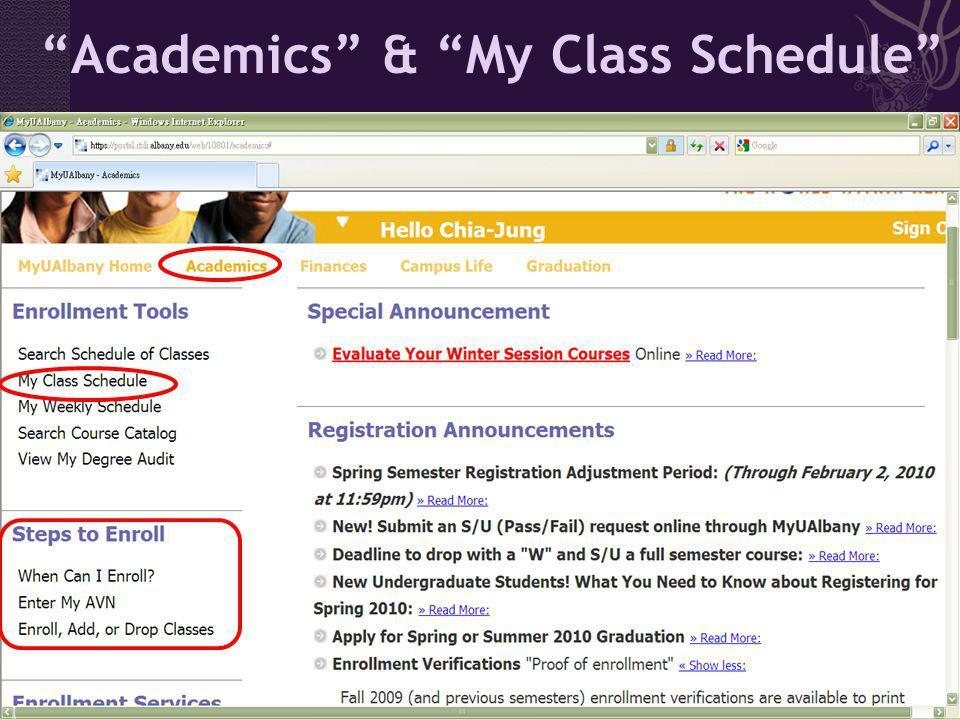 Academics & My Class Schedule