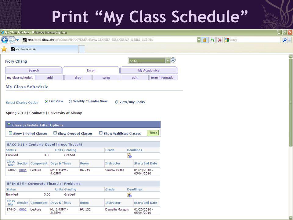 Print My Class Schedule