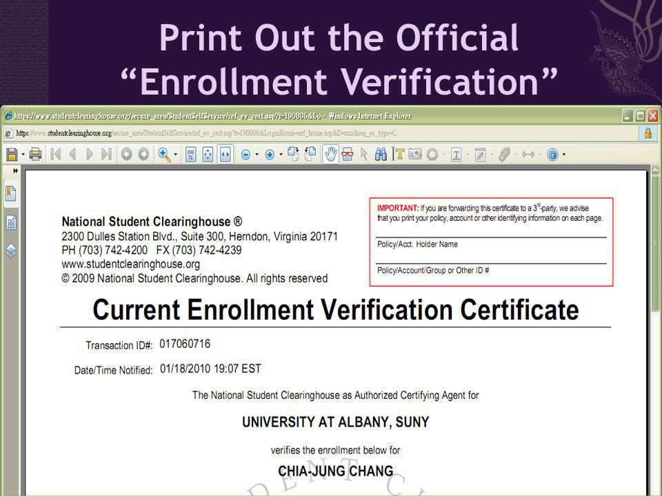 Print Out the Official Enrollment Verification