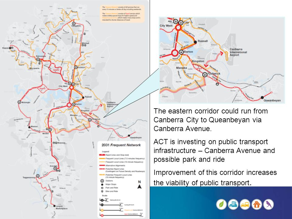 The eastern corridor could run from Canberra City to Queanbeyan via Canberra Avenue.