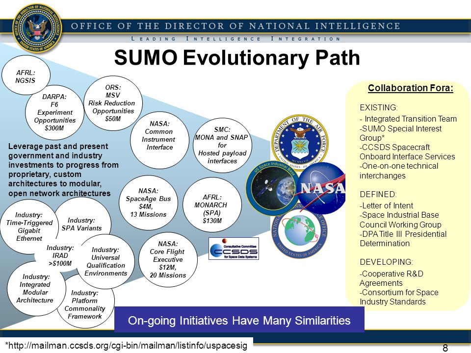19 Way-Forward Highlights Develop a Presidential Determination for Title III Funding Getting agency engagement on near-term tasks including: –Coordinating Letter Of Intent and developing a Memorandum of Agreement –Supporting Space Industrial Base Council (SIBC) Integrated Transition Team and Consultative Committee for Space Data Systems (CCSDS) forums with assigned personnel –Expanding US SUMO Special Interest Group and Industry Consensus Fora Coordinate with Agencies for Transition plan to include fiscal programming Define and develop Regionalization/Universalization Common Qual Environment initiatives Gain AIAA (and CCSDS) engagement on leading three aspects of SUMO AoS development –Electronic Data Sheets, Physical Electrical Interfaces, Data (SW Stack) Refine and Validate Budget analysis Advance Stakeholders from Interested to Committed by Action