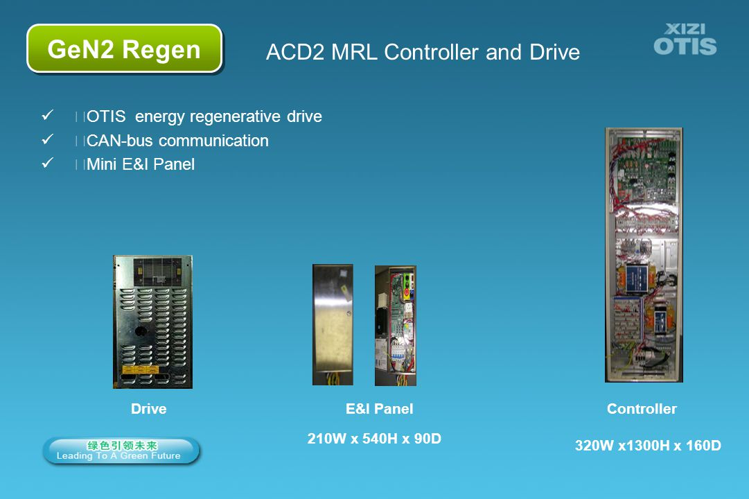 7/66 GeN2 Regen ACD2 MRL Controller and Drive 320W x1300H x 160D Controller OTIS energy regenerative drive CAN-bus communication Mini E&I Panel 210W x 540H x 90D E&I PanelDrive