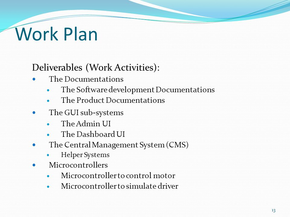 Work Plan Deliverables (Work Activities): The Documentations The Software development Documentations The Product Documentations The GUI sub-systems Th