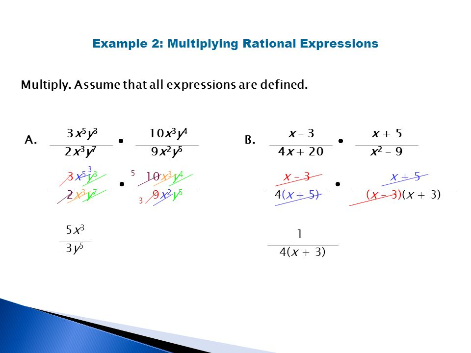 Multiply. Assume that all expressions are defined. Example 2: Multiplying Rational Expressions A. 3x 5 y 3 2x3y72x3y7 10x 3 y 4 9x2y59x2y5 3x 5 y 3 2x