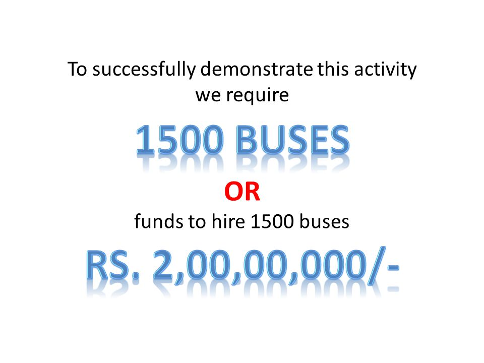 To successfully demonstrate this activity we require OR funds to hire 1500 buses