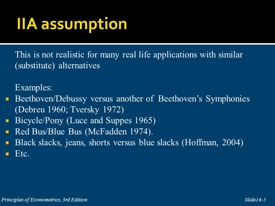 This is not realistic for many real life applications with similar (substitute) alternatives Examples: Beethoven/Debussy versus another of Beethovens