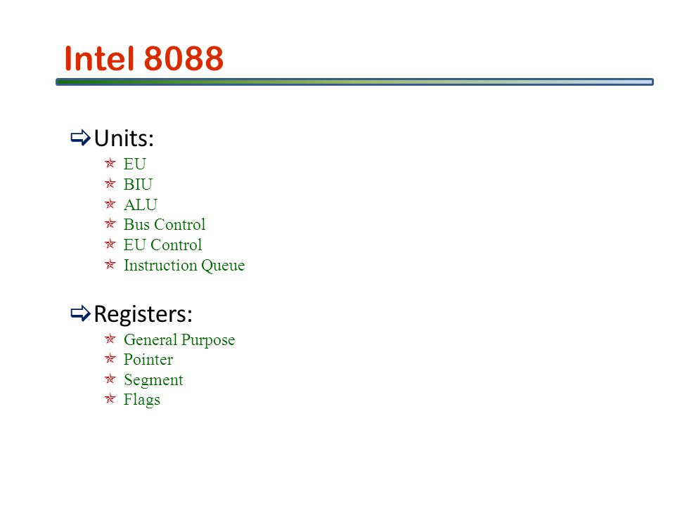 Intel 8088 Units: EU BIU ALU Bus Control EU Control Instruction Queue Registers: General Purpose Pointer Segment Flags