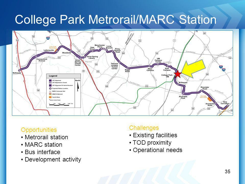 College Park Metrorail/MARC Station 35 Opportunities Metrorail station MARC station Bus interface Development activity Challenges Existing facilities TOD proximity Operational needs