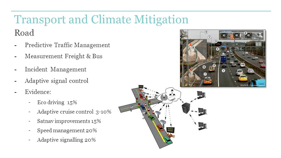 Transport and Climate Mitigation Road -Predictive Traffic Management -Measurement Freight & Bus -Incident Management -Adaptive signal control -Evidenc