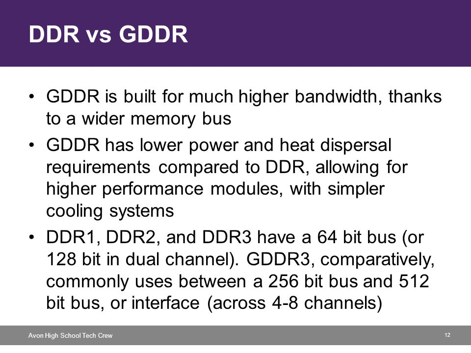 12 Avon High School Tech Crew DDR vs GDDR GDDR is built for much higher bandwidth, thanks to a wider memory bus GDDR has lower power and heat dispersa