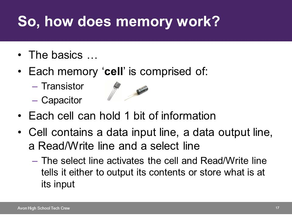 17 Avon High School Tech Crew So, how does memory work? The basics … Each memory cell is comprised of: –Transistor –Capacitor Each cell can hold 1 bit