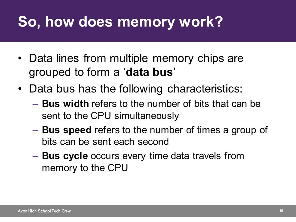 19 Avon High School Tech Crew So, how does memory work? Data lines from multiple memory chips are grouped to form a data bus Data bus has the followin