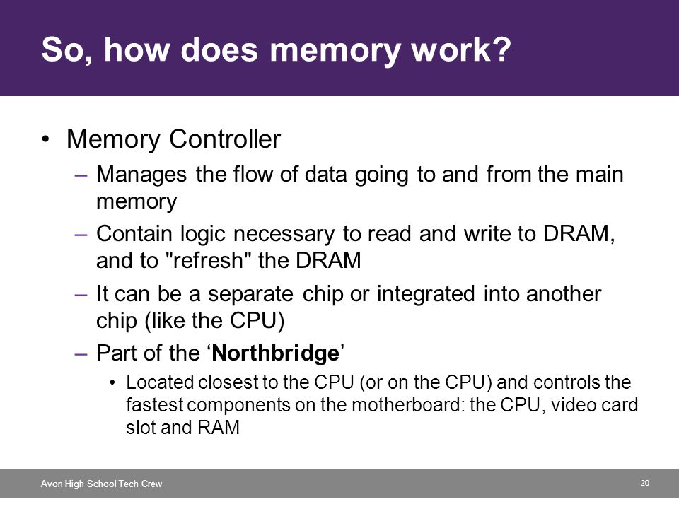 20 Avon High School Tech Crew So, how does memory work? Memory Controller –Manages the flow of data going to and from the main memory –Contain logic n