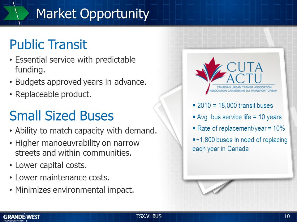 10 Market Opportunity Public Transit Essential service with predictable funding.