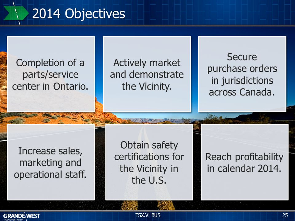 Reach profitability in calendar 2014. Increase sales, marketing and operational staff.