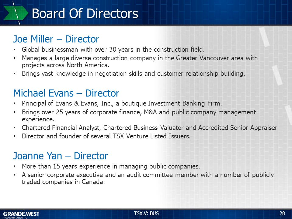 28 Board Of Directors Joe Miller – Director Global businessman with over 30 years in the construction field. Manages a large diverse construction comp