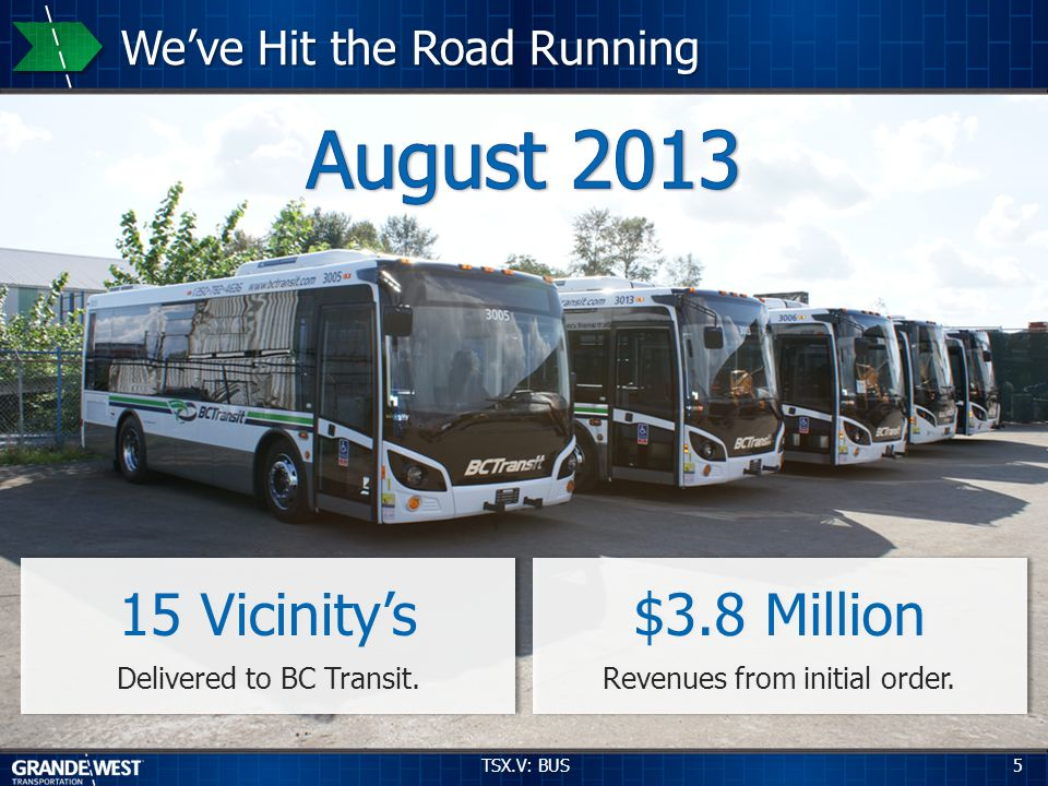 5 Weve Hit the Road Running 15 Vicinitys Delivered to BC Transit. 15 Vicinitys Delivered to BC Transit. $3.8 Million Revenues from initial order. $3.8