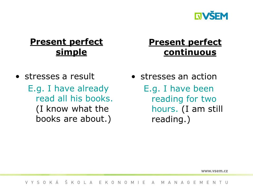 Present perfect simple stresses a result E.g. I have already read all his books. (I know what the books are about.) Present perfect continuous stresse