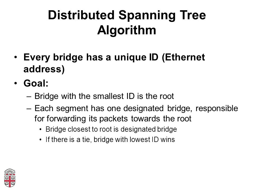 Distributed Spanning Tree Algorithm Every bridge has a unique ID (Ethernet address) Goal: –Bridge with the smallest ID is the root –Each segment has o
