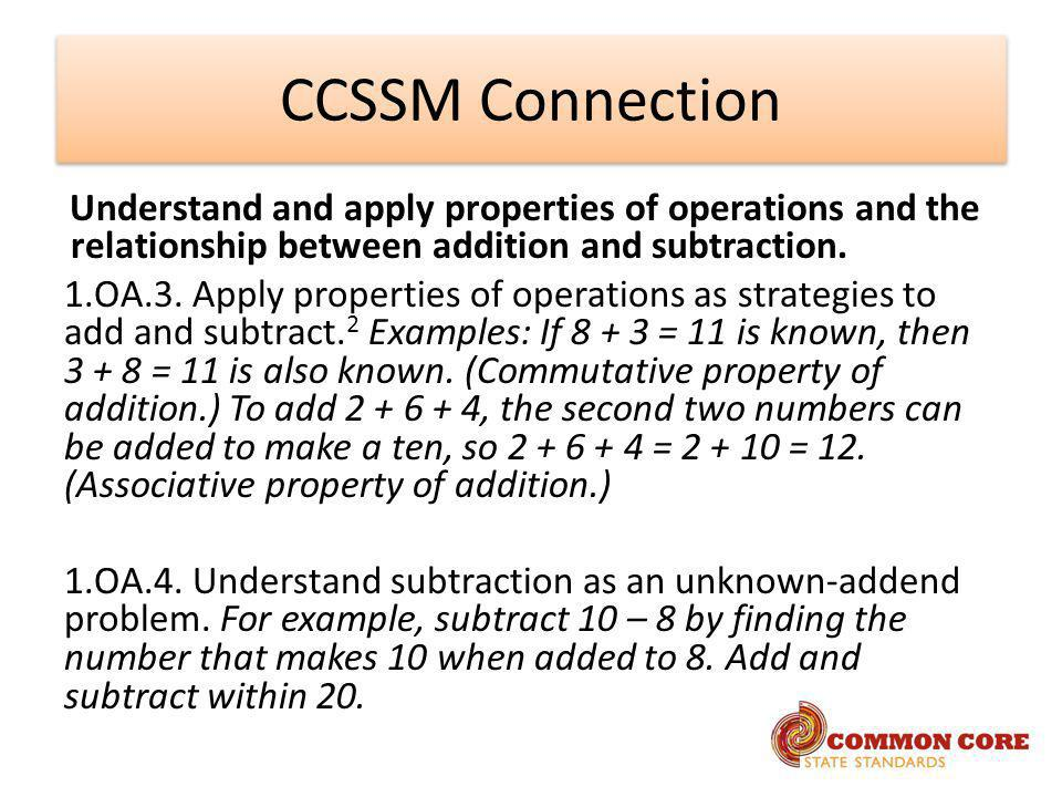 CCSSM Connection Understand and apply properties of operations and the relationship between addition and subtraction.