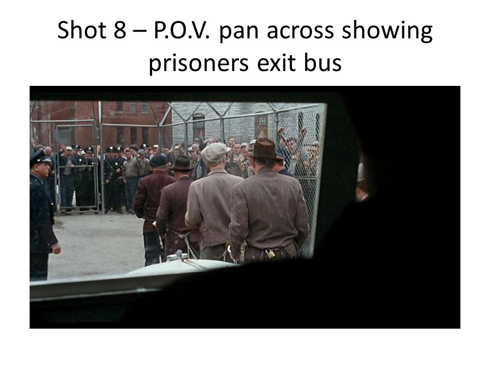Shot 8 – P.O.V. pan across showing prisoners exit bus
