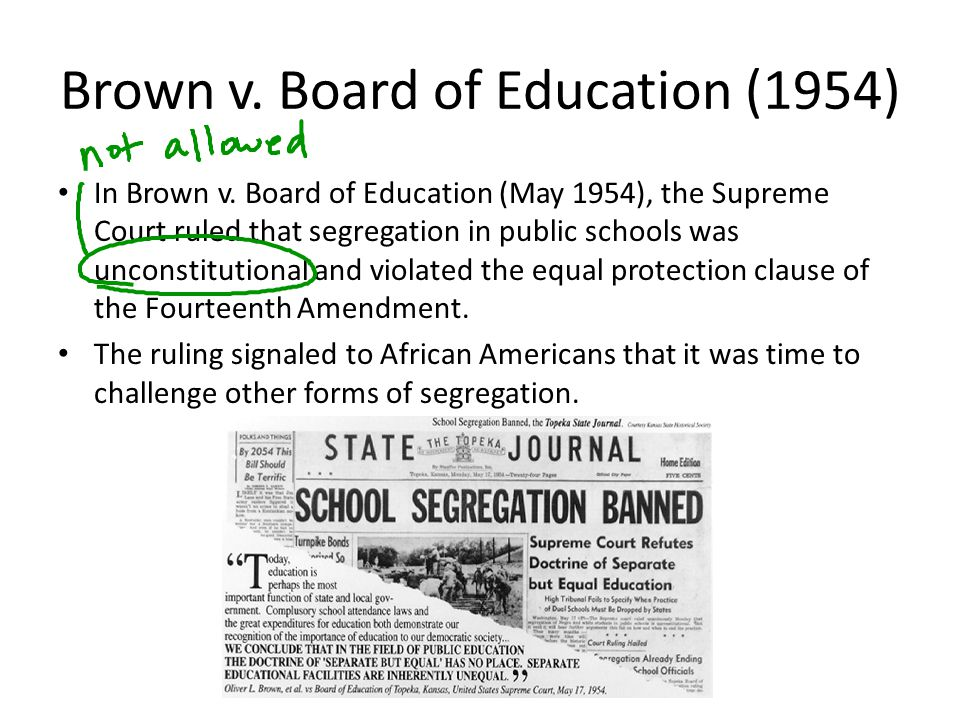 Brown v.Board of Education (1954) In Brown v.